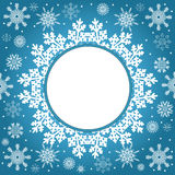 Christmas and New Year vintage greeting card. Creative winter background, snowflakes ornament, blue festive paper, holiday decor Royalty Free Stock Images
