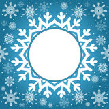 Christmas and New Year vintage greeting card. Creative winter background, snowflakes ornament, blue festive paper, holiday decor Stock Photo