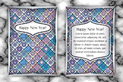 Christmas and New Year vintage greeting card. Tile mosaic snowflake background. Vector illustration Royalty Free Stock Photos
