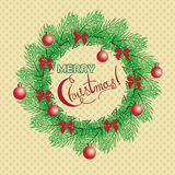 Christmas and New Year vintage greeting cards with holiday symbol wreath Royalty Free Stock Photos