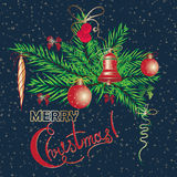 Christmas and New Year vintage greeting cards with holiday symbol wreath Stock Images
