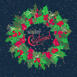 Christmas and New Year vintage greeting cards with holiday symbol wreath Royalty Free Stock Image