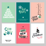 Christmas and New Year vintage greeting cards set royalty free illustration