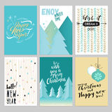 Christmas and New Year vintage greeting cards set Stock Photography