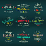 Christmas and New Year Vintage Labels Holiday Royalty Free Stock Images