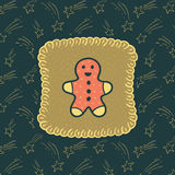 Christmas and New Year vintage ornate frame with Gingerbread Man symbol. Doodle illustration greeting card royalty free illustration
