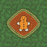 Christmas and New Year vintage ornate frame with Gingerbread Man symbol Royalty Free Stock Photo