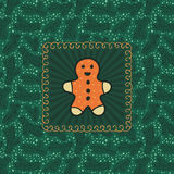 Christmas and New Year vintage ornate frame with Gingerbread Man symbol Stock Photo