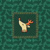 Christmas and New Year vintage ornate frame with Santa deer head symbol Royalty Free Stock Photography
