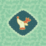 Christmas and New Year vintage ornate frame with Santa deer head symbol Royalty Free Stock Photo