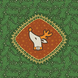 Christmas and New Year vintage ornate frame with Santa deer head symbol Stock Photography