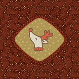 Christmas and New Year vintage ornate frame with Santa deer head symbol Stock Photo
