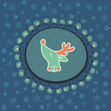 Christmas and New Year vintage ornate frame with Santa deer head symbol Stock Image
