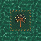 Christmas and New Year vintage ornate frame with star firework symbol. Doodle illustration greeting card. Fir tree branch background Royalty Free Stock Photography