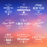 Christmas and New Year Vintage Sales Typography Royalty Free Stock Photography