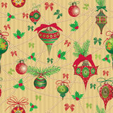 Christmas and New Year vintage seamless pattern with holiday symbols Stock Photography