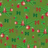 Christmas and New Year vintage seamless pattern with holiday symbols Royalty Free Stock Image