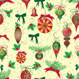 Christmas and New Year vintage seamless pattern with holiday symbols Stock Photo