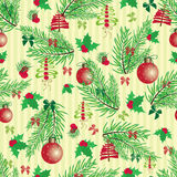 Christmas and New Year vintage seamless pattern with holiday symbols Royalty Free Stock Images