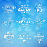 Christmas and New Year Vintage Typography Holidays Stock Images