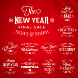 Christmas and New Year Vintage Typography Labels Stock Images