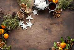 Christmas or New Year Vintage wooden background stock photo
