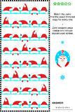 Christmas or New Year visual puzzle with rows of Santa caps. Christmas or New Year themed picture puzzle: Match the pairs - find the exact mirrored copy for Royalty Free Stock Photography