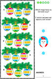 Christmas or New Year visual riddle with decorated branches Royalty Free Stock Photo