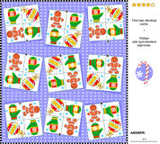 Christmas or New Year visual riddle - find two identical cards with holiday symbols. Christmas or New Year holiday themed visual logic puzzle: Find the two Royalty Free Stock Image