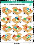 Christmas or New Year visual riddle with packaged ornaments. Christmas or New Year themed visual puzzle with packaged ornaments: Match the pairs - find the exact stock illustration