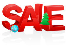 Christmas and new year volumetric red inscription sale vector il Stock Photos