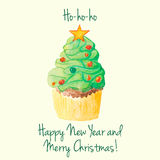 Christmas and New Year watercolor cupcake greeting card Stock Photo
