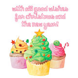 Christmas and New Year watercolor cupcake greeting card Royalty Free Stock Images