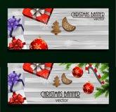 Christmas New Year web banner set Stock Photos