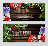 Christmas New Year web banner set Stock Images