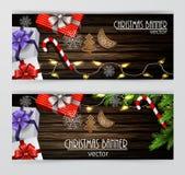 Christmas New Year web banner set Stock Photography
