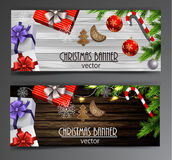 Christmas New Year web banner set Royalty Free Stock Images