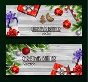 Christmas New Year web banner set Stock Image
