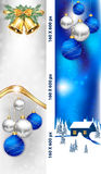 Christmas and New Year 2017 web banners. Skyscraper web Banner set for Christmas and New Year. Contains Christmas baubles, Christmas tree, Jingle bells and royalty free illustration