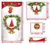 Christmas and New Year web banners. With winter background, snowflakes, Christmas Baubles, Holly wreath, Jingle bells. Space for your own advertising stock illustration