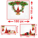Christmas and New Year web banners. With winter background, snowflakes, Christmas Baubles, Holly wreath, Jingle bells. Space for your own advertising Stock Photography