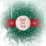 Christmas and New Year white Label on red Ribbon Stock Image