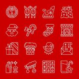 Christmas New year white thin line icon set. Christmas, New year white thin line with shadow icon set. Vector linear symbol pack. Outline sign without fill Stock Photo