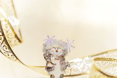 Christmas and New Year winter holiday background in yellow beige royalty free stock photography