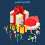 Christmas New Year winter holiday party flat isometric vector 3d. Merry Christmas Happy New Year winter holiday party flat 3d isometry isometric concept web vector illustration
