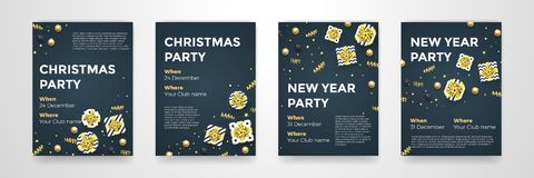 Christmas New Year winter holiday party posters vector design golden black background royalty free illustration