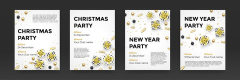 Christmas New Year winter holiday party posters vector design golden white background royalty free illustration