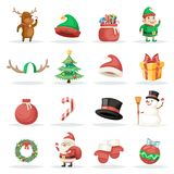 Christmas New Year Winter Holiday Xmas Isolated Icons Set Cartoon Design Vector Illustration Royalty Free Stock Images