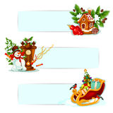 Christmas and New Year winter holidays banner set. Christmas winter holiday banner set. Xmas tree with ball and gift, snowman with snowy pine, gingerbread house Stock Photos