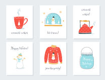 Christmas, New Year and Winter Holidays Cards with Vintage Sentimental Objects. Tea Mug, Snow Globe, Kettle, Sweater. Mason Jar Vector Illustrations vector illustration